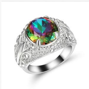 Jewelry - Mystic Rainbow Topaz 10KT Gold GF White Ring 8